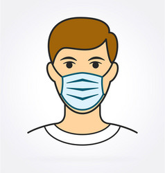 man with facemask covid19 vector image