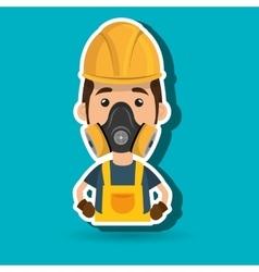 Man worker mask gas vector