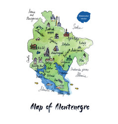 Map of montenegro watercolor vector