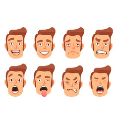 Men facial gestures set vector