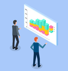 men istudying colorful bar chart with analytic vector image