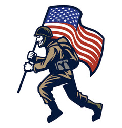 Military soldier carrying the united states flag vector