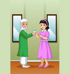 Muslim girl giving water to her friend vector