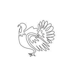one continuous line drawing large turkey vector image