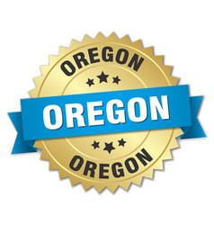 Oregon round golden badge with blue ribbon vector