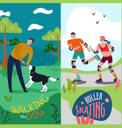 park rest banners set vector image