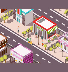pizzeria isometric background vector image
