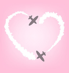 plane with smoke in the form of heart card for vector image