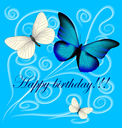 Postcard with a happy birthday three butterflies vector