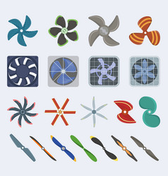 Propellers fan icons isolated object boat vector