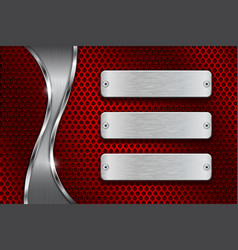 Red perforated background with blank steel plates vector