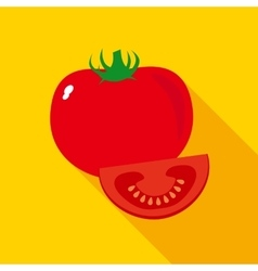 Red Ripe Tomato in Flat Style vector image