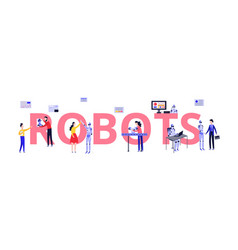 Robots lab with scientists and developer engineers vector