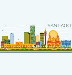 santiago chile skyline with color buildings and vector image