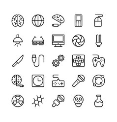 Science and technology line icons 3 vector