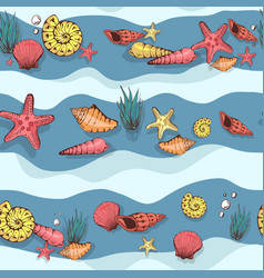 Seamless nautical pattern with shells vector