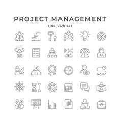 set line icons projects management vector image