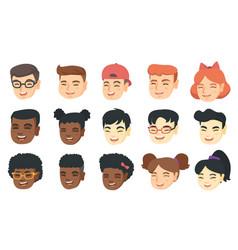 Set of kids laughing emoji cartoons vector