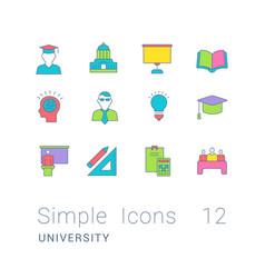 Set simple line icons university vector