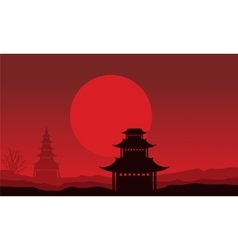 Silhouette of pavilion scenery on red backgrounds vector