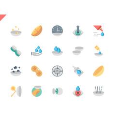 Simple set eye lens flat icons for website vector
