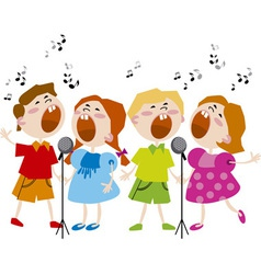 Singing kids vector
