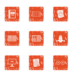 start up contract icons set grunge style vector image