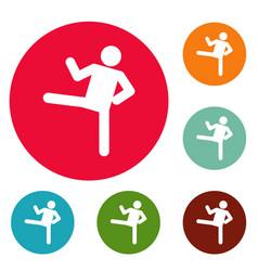 Stick figure stickman icons circle set vector