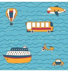 Summer travel design hand drawn transport vector image