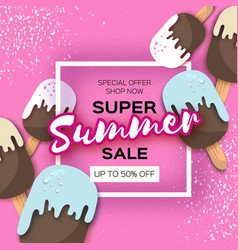 super summer sale with ice-cream in paper cut vector image