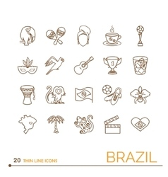 Thin line icons Brazil vector image
