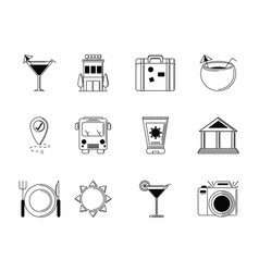 Tourism vacations travel icon set thin line vector