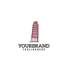 tower pisa logo design vector image