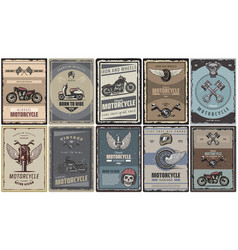 Vintage colored motorcycle posters set vector