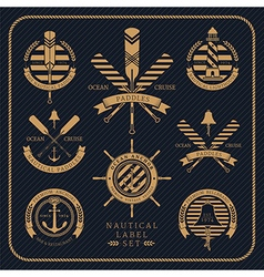 Vintage nautical label set on dark striped vector image