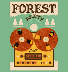 Vintage open air forest party poster vector
