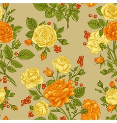 Vintage seamless pattern with roses vector image