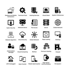 Web hosting glyph icon designs 3 vector