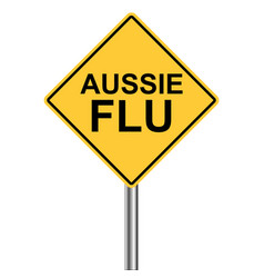 Yellow triangle warning sign caution - aussie flu vector