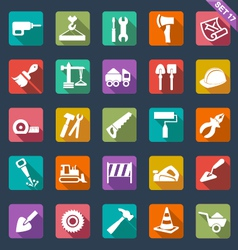 Building and tools icons vector image vector image