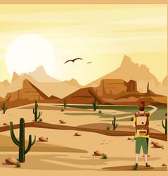 landscape background desert with traveler cacti vector image