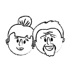 Old couple face with hairstyle vector
