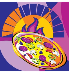 pizza out oven vector image