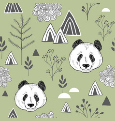 colorful seamless pattern with cute chinese bear vector image vector image