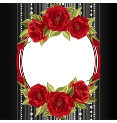 Delicate frame with roses vector image vector image