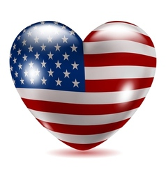 Heart shaped icon with flag of USA vector image