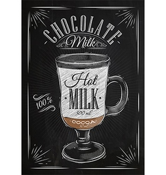 Poster chocolate milk chalk vector image vector image