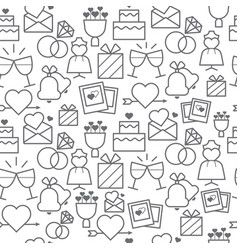 line style icons seamless pattern wedding vector image
