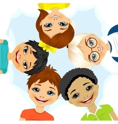 multi ethnic group of children forming a circle vector image vector image