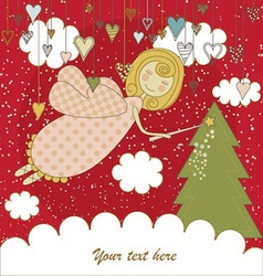 Red Christmas Card with Angel vector image
